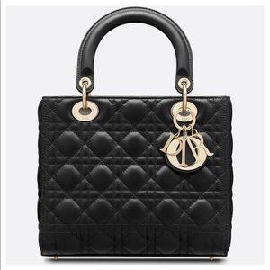 Vintage Lady Dior Bag Black with Gold Hardware